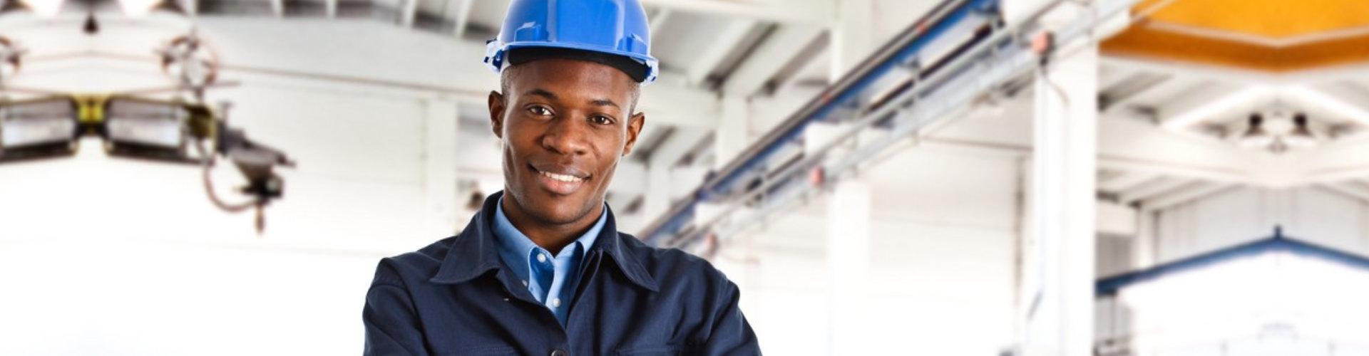 African american engineer smiling